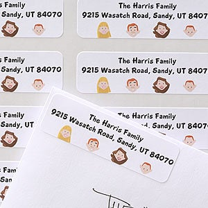 Personalized Cartoon Family Address Labels - 6899