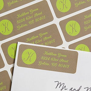 printed return address labels with custom initial 6904
