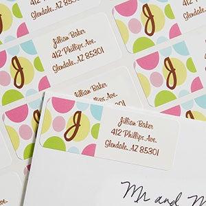 Polka Dot Monogram Custom Address Labels - 6907