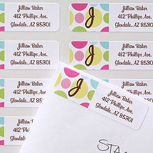 Polka Dot Monogram Custom Address Labels - 6907