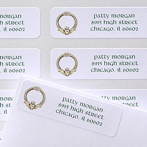 Personalized Irish Address Labels - Golden Claddagh - 6935