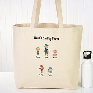Family Cartoon Characters Personalized Canvas Tote Bag