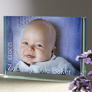 Glass Photo Block Personalized Baby Picture Frames - 6980