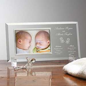 personalized twin baby picture frame engraved glass baby frame 6982 - Engraved Frame