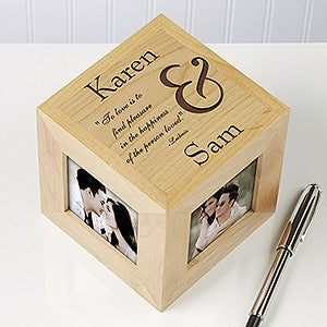 Personalized Wood Photo Cube - To Love You Romantic Design - 7032