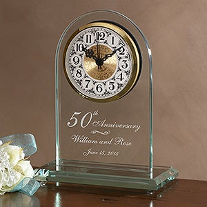 Engraved 50th Anniversary Beveled Glass Clock - 7044