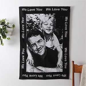Custom Photo Afghan with Personalized Border - 7045D