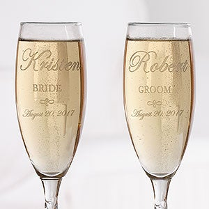 Engraved Crystal Champagne Flutes - Bride and Groom Design - 7095