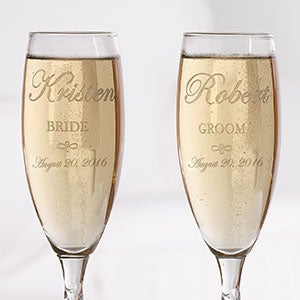 Personalization Mall Engraved Crystal Champagne Flutes - Bride and Groom Design at Sears.com