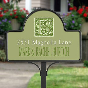 Personalization Mall Personalized Yard Stake Address Plaque - Floral Monogram at Sears.com