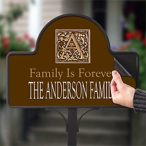 Personalized Address Plaque Yard Stake - Floral Monogram - 7109