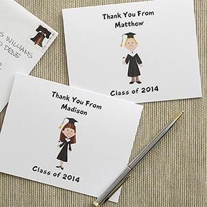 Personalized Graduation Note Cards - Custom Cartoon Character - 7115