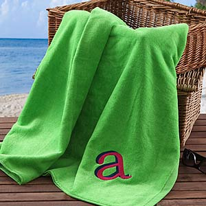 Personalization Mall Green Personalized Initial Beach Towels at Sears.com
