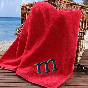 Personalization Mall Embroidered Initial Personalized Beach Towels - Red at Sears.com