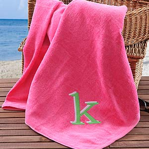 Personalization Mall Personalized Initial Monogram Beach Towels - Pink at Sears.com