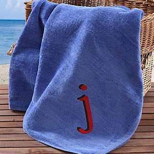 Personalization Mall Personalized Beach Towels With Custom Initial - Blue at Sears.com