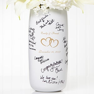 Personalized Signature Wedding Vase - Joined Hearts - 7121