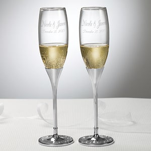 Personalized Wedding Champagne Flute Set - Silver & Crystal - 7146