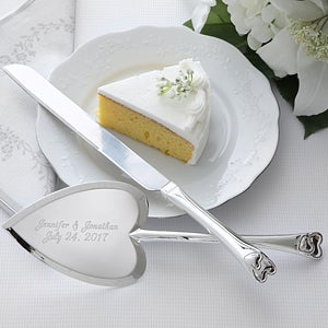 Personalized Wedding Cake Knife Server Set Heart Design