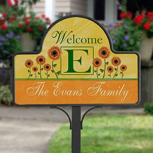 Personalized Yard Stakes - Summer Sunflowers - 7197