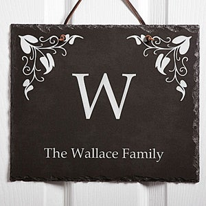 Personalized Family Name Wall Plaque - Elegant Monogram - 7199