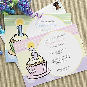 Kids Personalized Birthday Invitations - Cupcakes - 7203