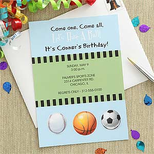 Personalized Sports Party Invitations - Baseball, Basketball, Soccer - 7211