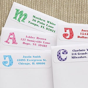personalized kids address labels alphabet name