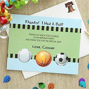 Personalized Kids Sports Thank You Cards - 7222