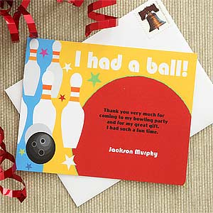 Personalized Bowling Thank You Note Cards - 7224