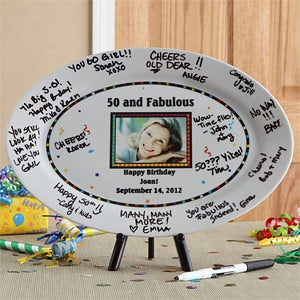 Happy Birthday Personalized Signature Photo Platter - 7263