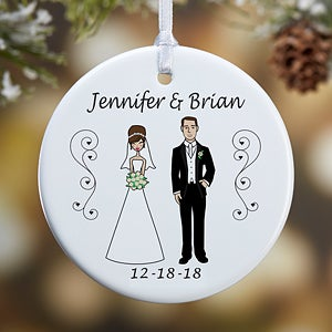 Personalized Christmas Ornaments - Bride and Groom Characters - 7265