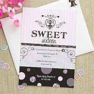 Sweet Sixteen Personalized Birthday Party Invitations - 7271