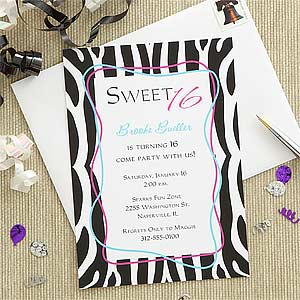 Zebra Stripes Personalized Girls Birthday Invitations for Sweet  Sixteen - 7273