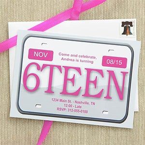 Personalized 16th Birthday Party Invitations - License Plate - 7274