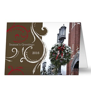 Personalized Christmas Wreath Christmas Cards - 7297