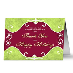 Holiday Thanks Personalized Corporate Greeting Cards - 7312