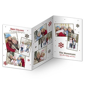 Photo Collage Personalized Three Panel Christmas Cards - 7315