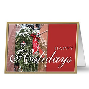 Christmas Wreath Personalized Holiday Cards - 7323