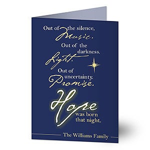 Personalized Christian Christmas Cards - Hope Was Born - 7324