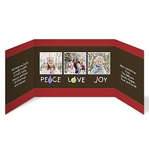 Peace, Love & Joy Personalized Gatefold Photo Holiday Greeting Cards - 7326