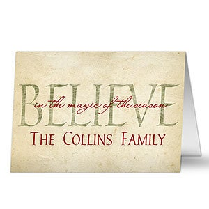 Family Name Personalized Christmas Cards - Believe - 7333