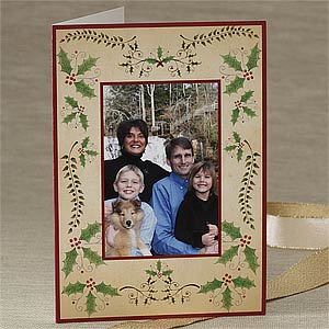 Personalization Mall Personalized Christmas Holly Photo Greeting Cards - Vertical at Sears.com