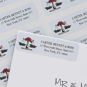 Scales of Justice Personalized Law Firm Holiday Address Labels - 7364