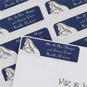 Mother & Child Custom Christmas Return Address Labels - 7407