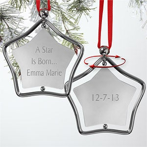 Engraved Silver Star Personalized Baby Christmas Ornament - 7440