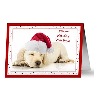 Personalized Puppy Dog Holiday Greeting Card - 7476