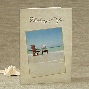 Personalized Thinking Of You Greeting Cards - Beach Scene - 7480