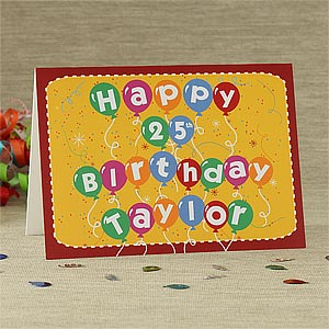 Birthday Balloons Personalized Birthday Cards - 7492