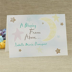 Personalized New Baby Greeting Cards - Blessing From Above - 7494